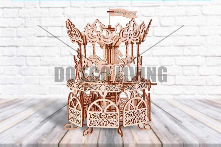 Carousel Horse Toy - 3D Mechanical Puzzle WOOD TRICK - photo