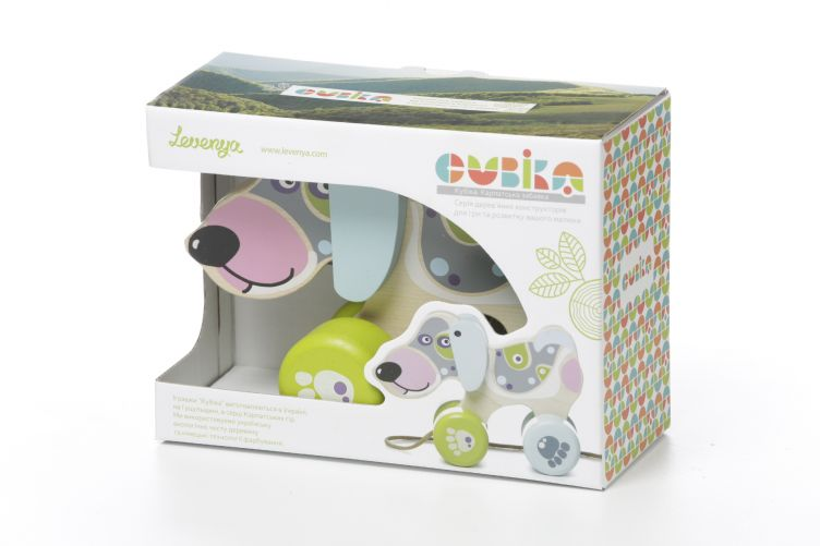 Wooden toy Happy Puppy (push and pull) CUBIKA - photo