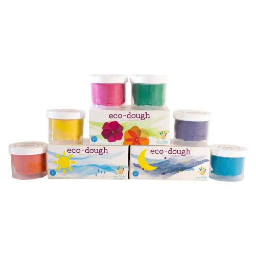 Eco-dough 2-pack Assorted Case – Set of 3 Pieces - Moon (purple and blue), Sun (orange and yellow) and Flower (red and green) - photo