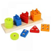 Wooden toy Sorter Geometric Figures Rectangular  CUBIKA