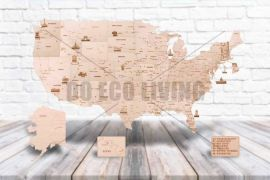 USA world map - 3D Mechanical Puzzle WOOD TRICK