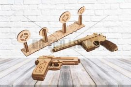 Set Of Models Guns - 3D Mechanical Puzzle WOOD TRICK