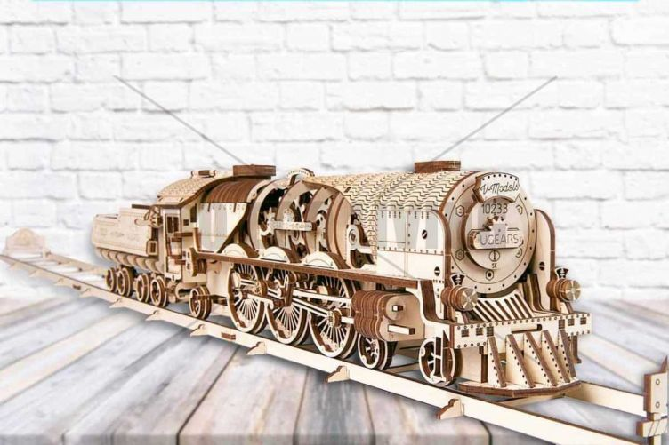 V-Express Steam Train with Tender - 3D Mechanical Puzzle UGEARS - photo