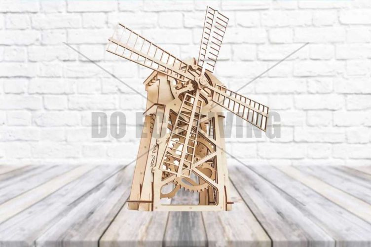 Windmill Toy - 3D Mechanical Puzzle WOOD TRICK - photo